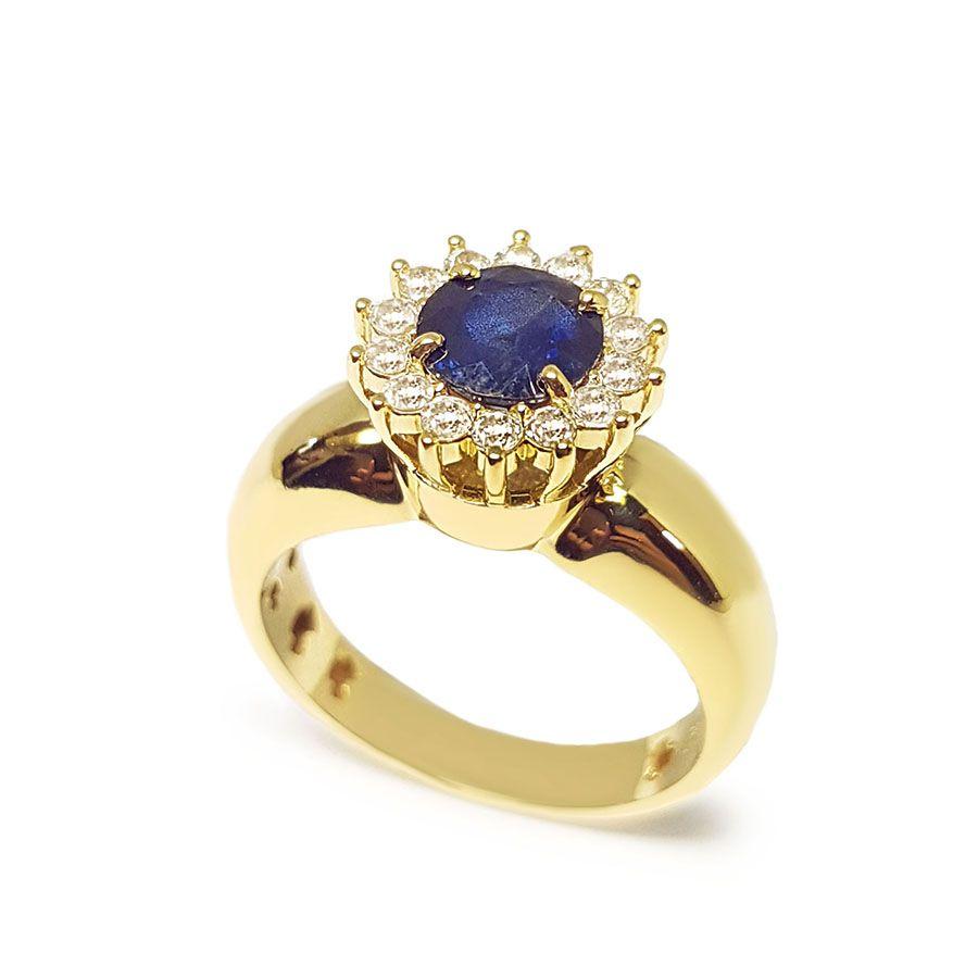 Anel Ouro 18k com Safira e Diamantes