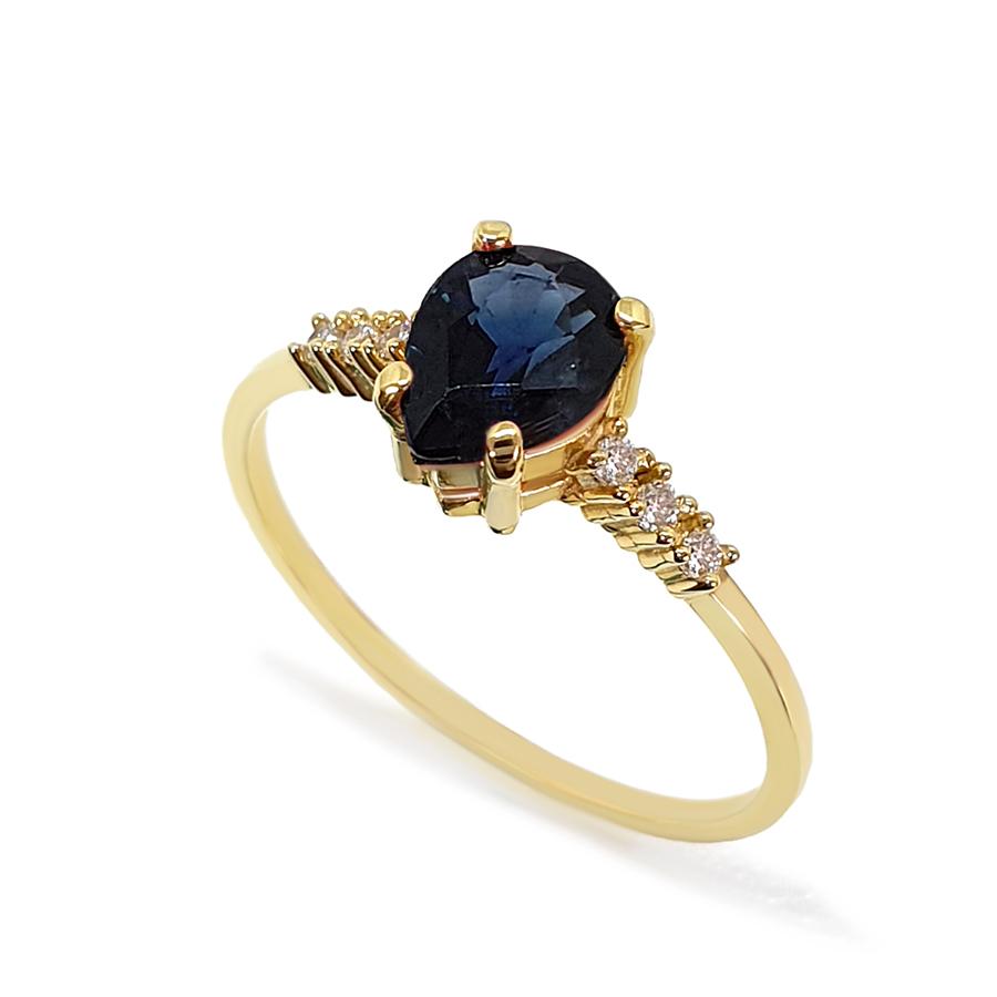 Anel Ouro 18k com Safira Gota Grande e Diamantes