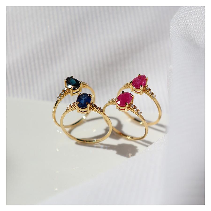 Anel Ouro 18k com Safira Gota Grande e Diamantes  - YVES