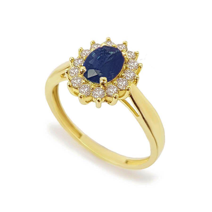 Anel Ouro 18k com Safira Oval e Diamantes