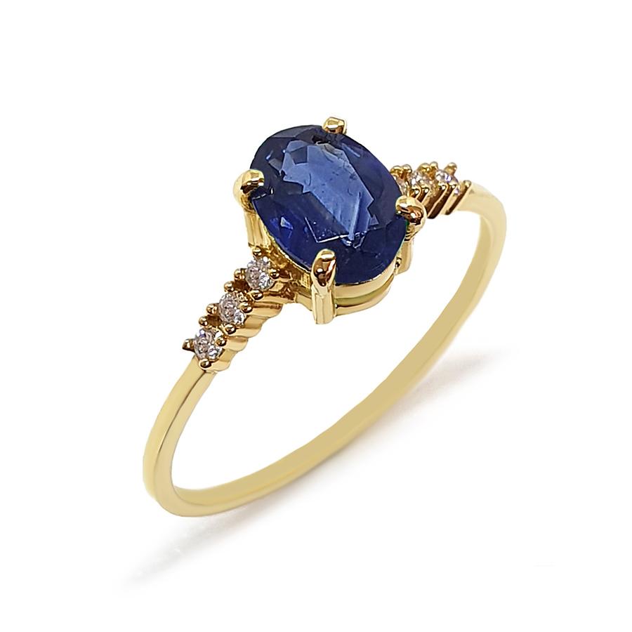 Anel Ouro 18k com Safira Oval Grande e Diamantes