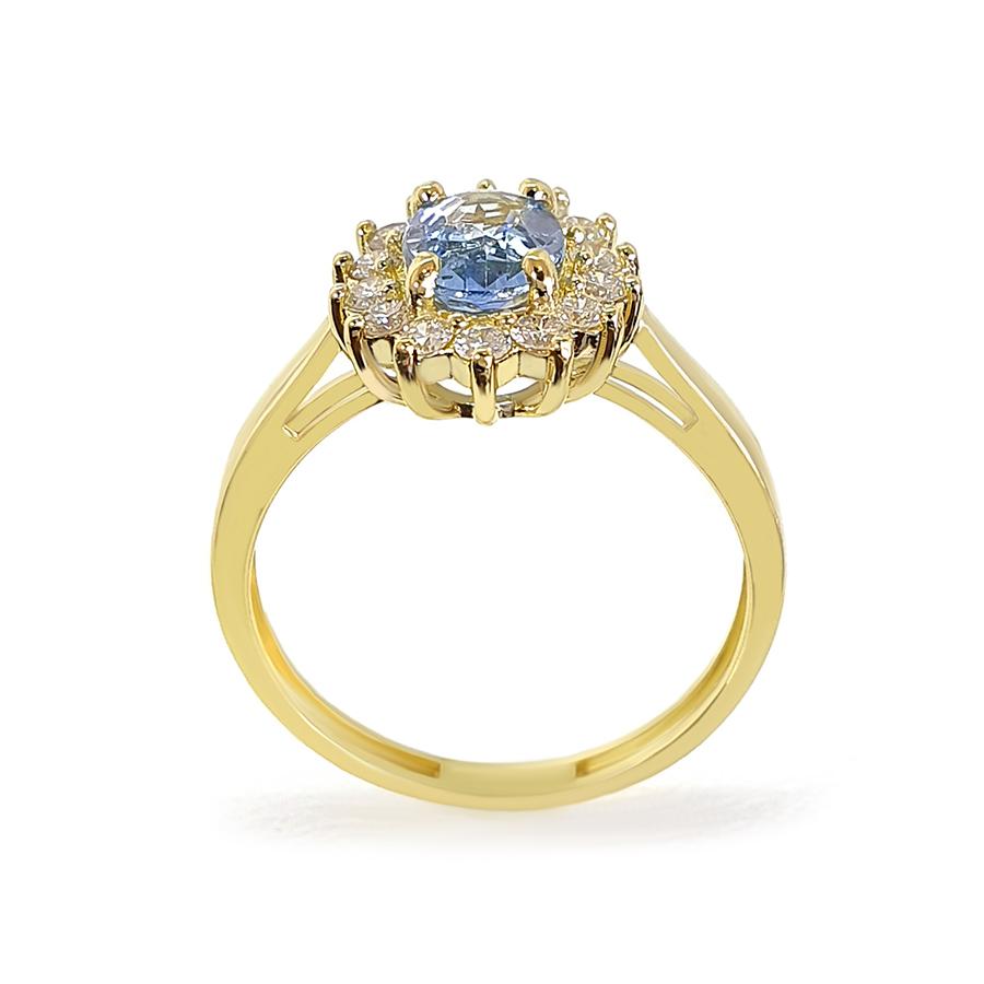 Anel Ouro 18k com Topázio Sky Oval e Diamantes  - YVES
