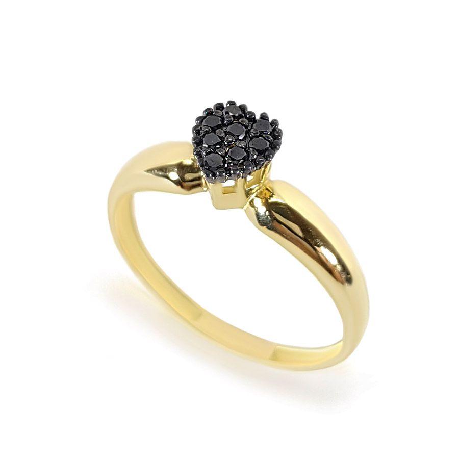 Anel Ouro 18k Coração com Diamantes Negro