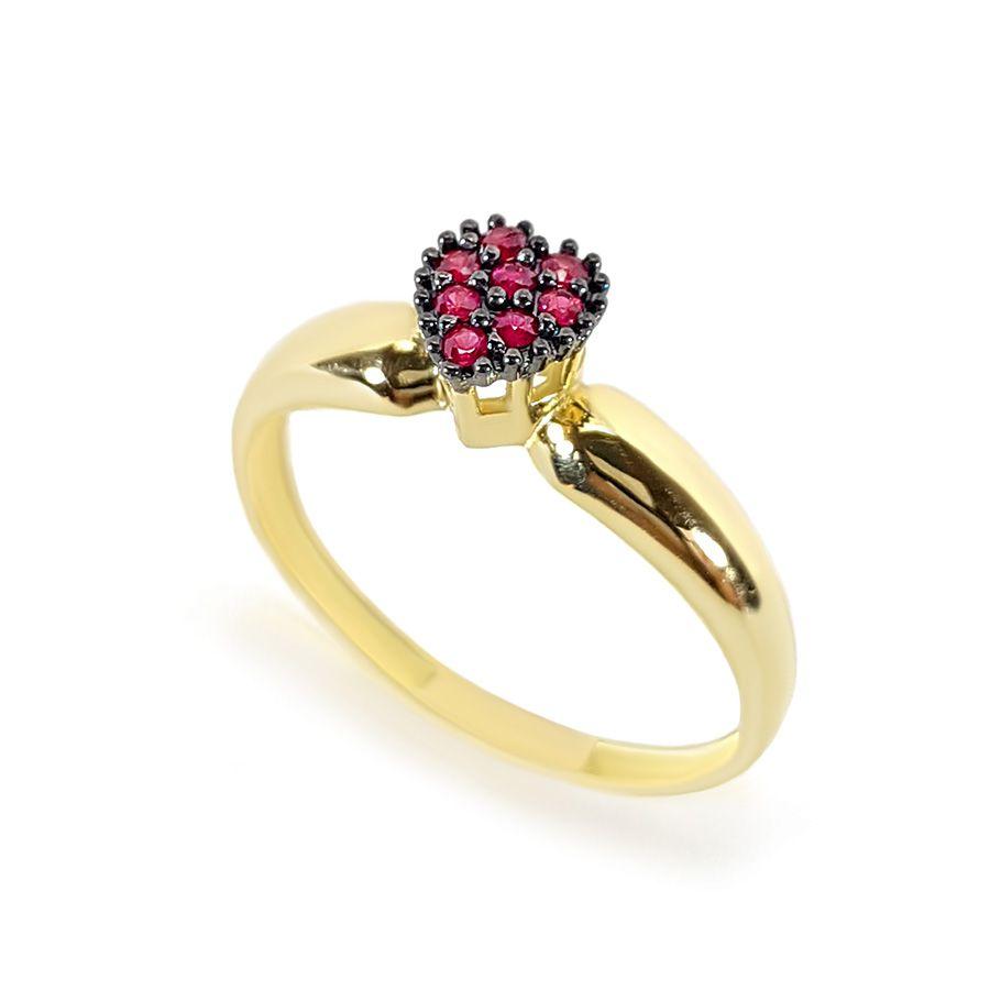 Anel Ouro 18k Coração com Rubis e Ródio Negro