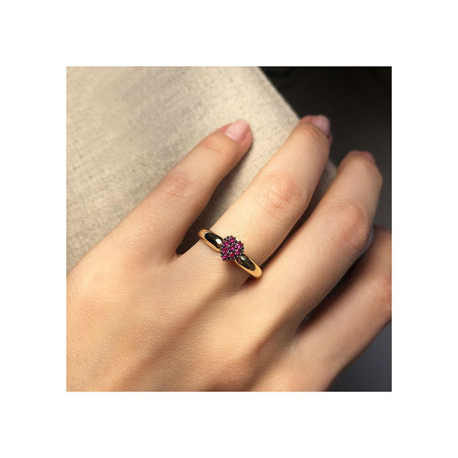 Anel Ouro 18k Coração com Rubis e Ródio Negro  - YVES