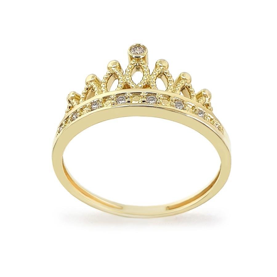Anel Ouro 18k Coroa com Diamantes   - YVES