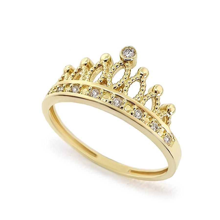 Anel Ouro 18k Coroa com Diamantes