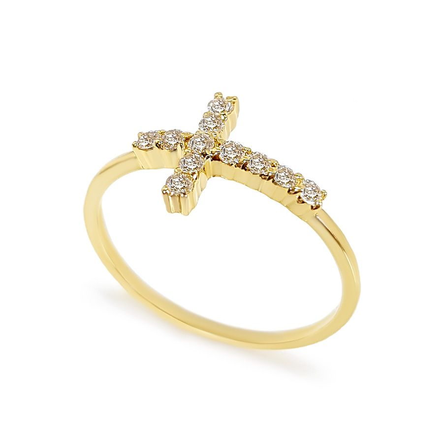 Anel Ouro 18k Cruz com Diamantes
