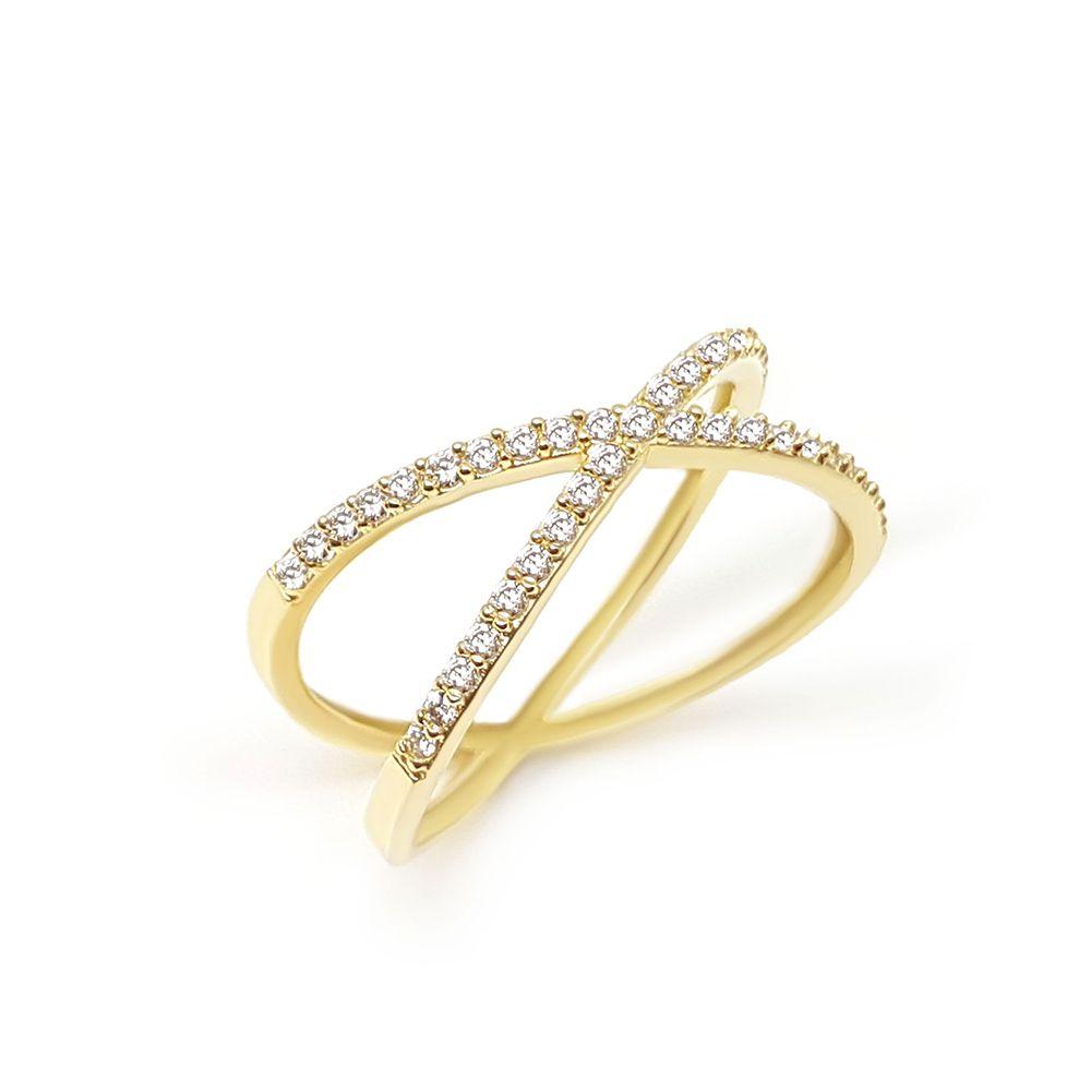 Anel Ouro 18k Cruzado com 39 diamantes