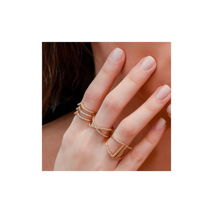 Anel Ouro 18k Cruzado com 39 diamantes   - YVES