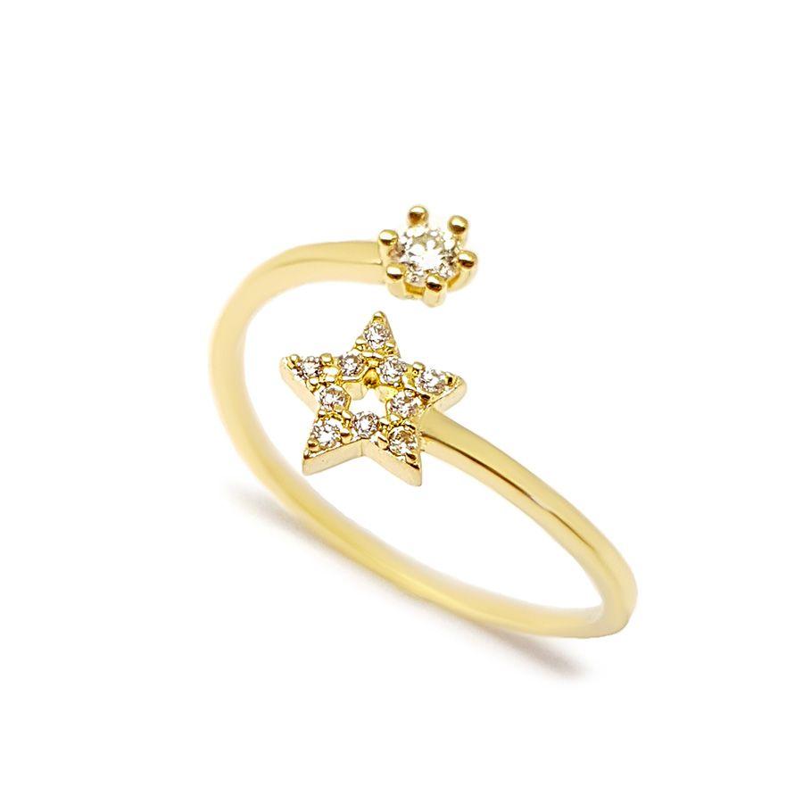 Anel Ouro 18k Estrela com Diamantes