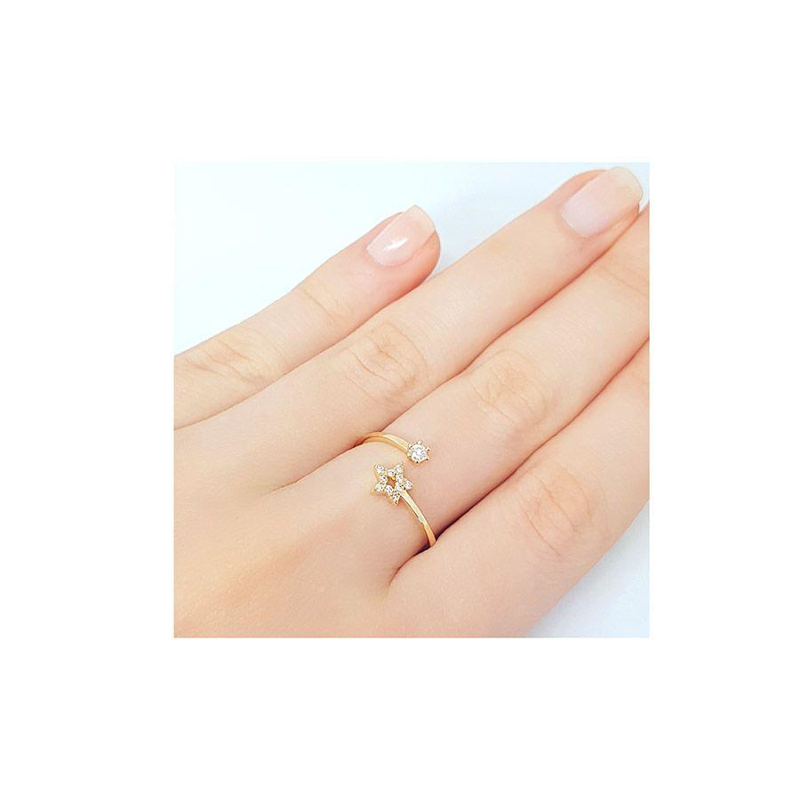 Anel Ouro 18k Estrela com Diamantes  - YVES