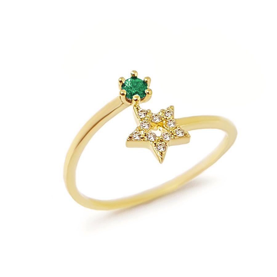 Anel Ouro 18k Estrela com Diamantes e Esmeralda  - YVES