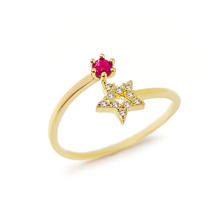 Anel Ouro 18k Estrela com Diamantes e Rubi  - YVES