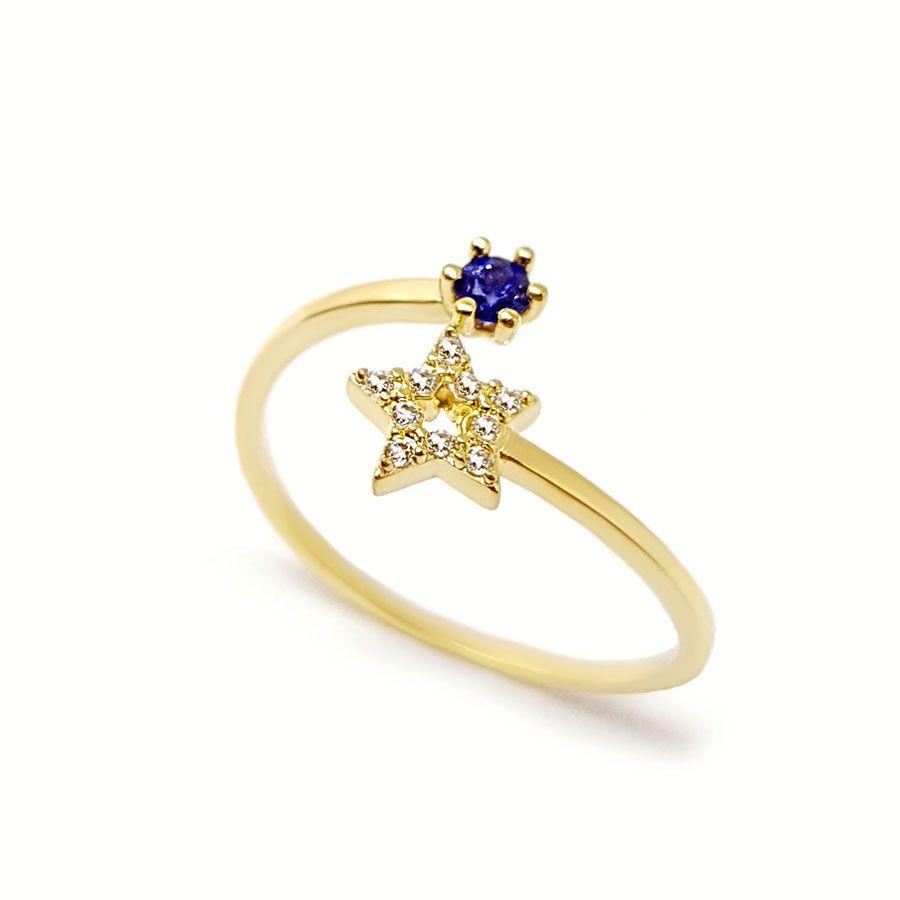 Anel Ouro 18k Estrela com Diamantes e Safira