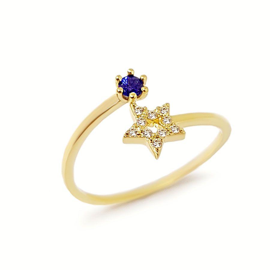 Anel Ouro 18k Estrela com Diamantes e Safira  - YVES
