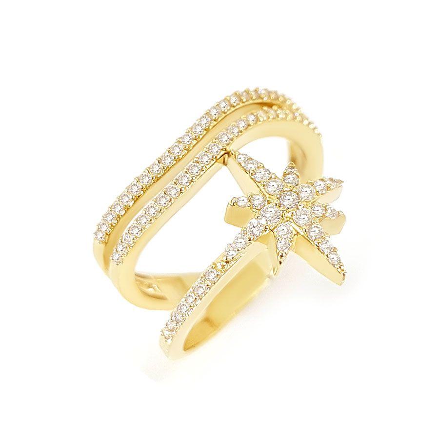 Anel Ouro 18k Estrela e Diamantes  - YVES