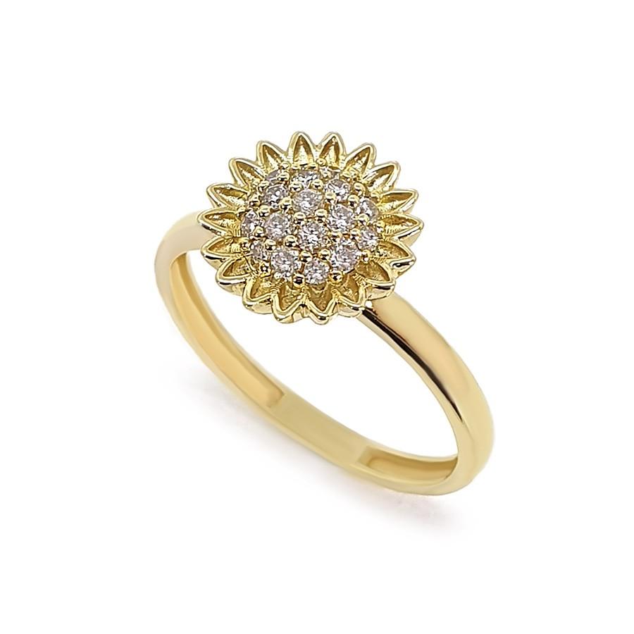Anel Ouro 18k Girassol com Diamantes