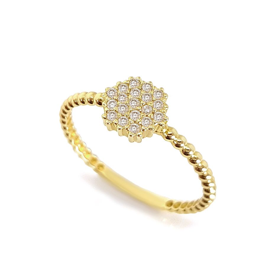 Anel Ouro 18k Hexágono com Diamantes