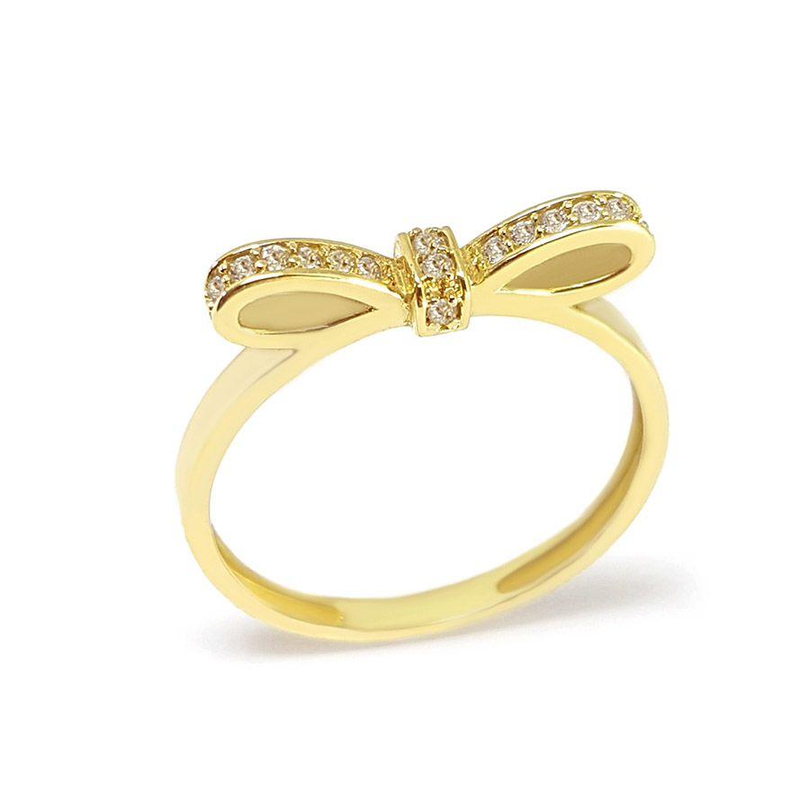 Anel Ouro 18k Laço com Diamantes