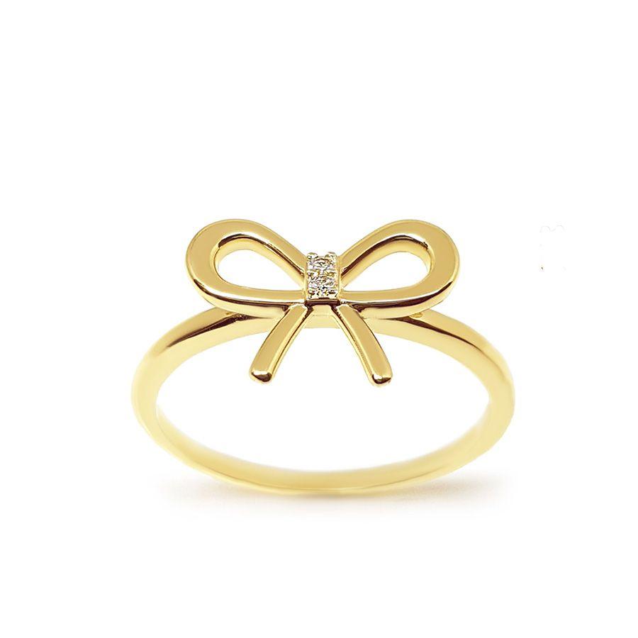 Anel Ouro 18k Laço com Diamantes   - YVES