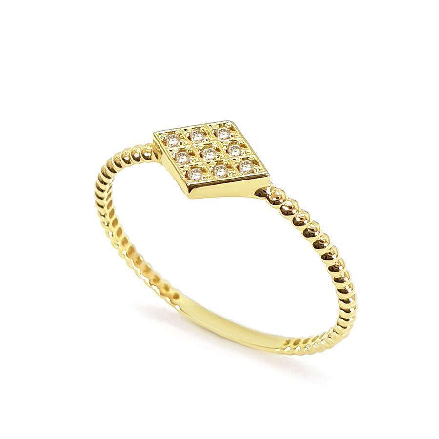 Anel Ouro 18k Losango com Diamantes