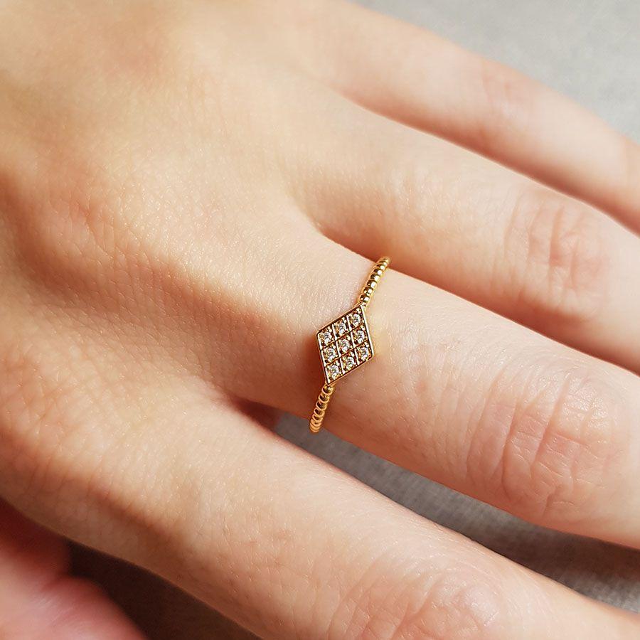 Anel Ouro 18k Losango com Diamantes  - YVES