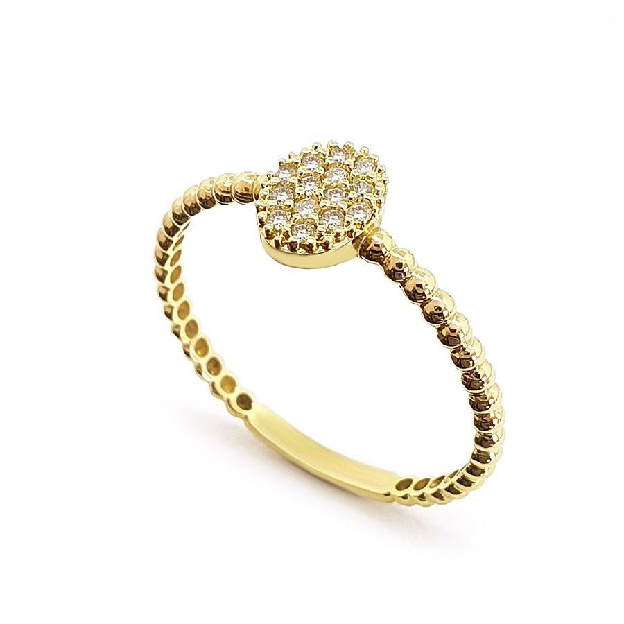 Anel Ouro 18k Oval com Diamantes