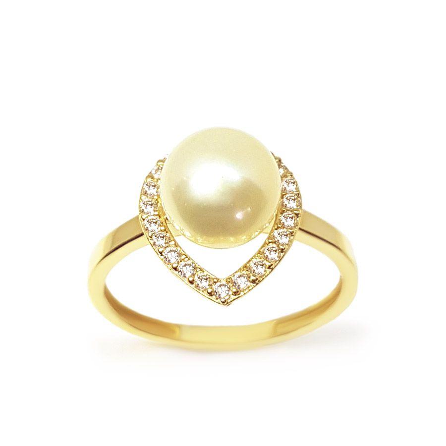 Anel Ouro 18k Perola com Diamantes