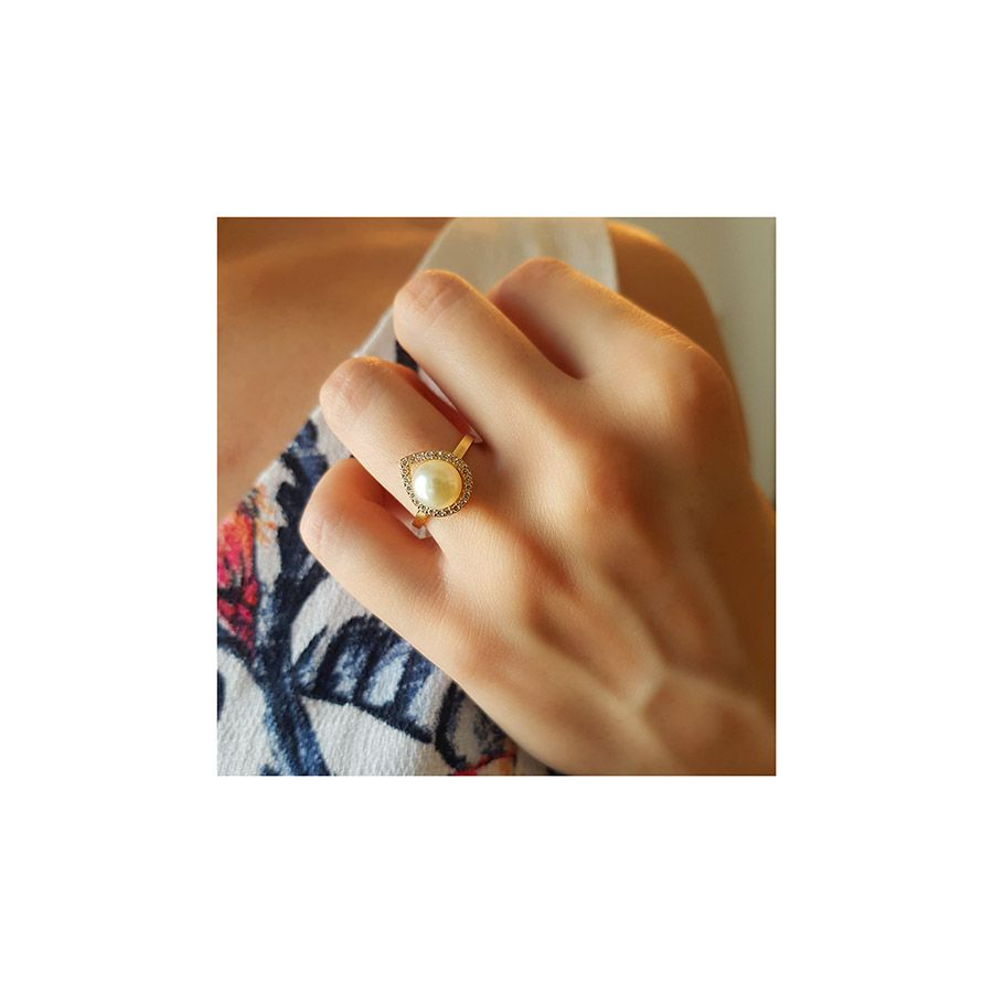 Anel Ouro 18k Perola com Diamantes  - YVES