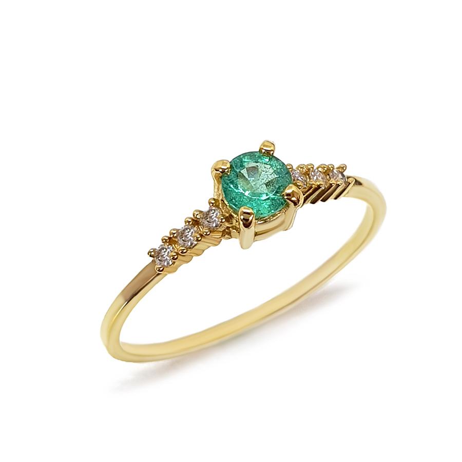 Anel Ouro 18k Solitário com Esmeralda e Diamantes