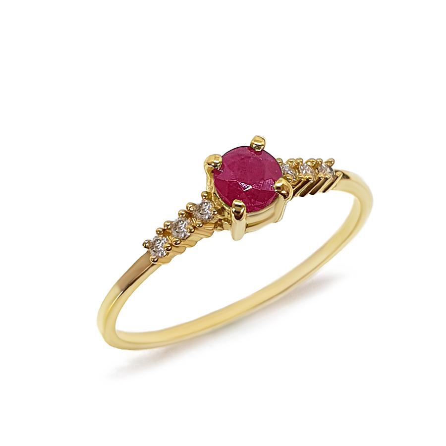 Anel Ouro 18k Solitário com Rubi e Diamantes