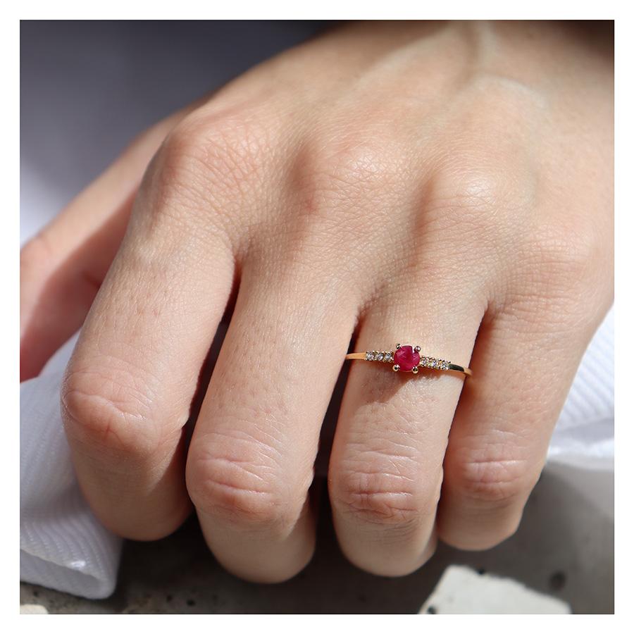 Anel Ouro 18k Solitário com Rubi e Diamantes  - YVES