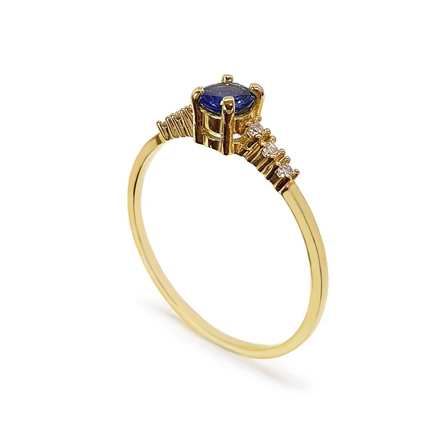 Anel Ouro 18k Solitário com Safira e Diamantes  - YVES