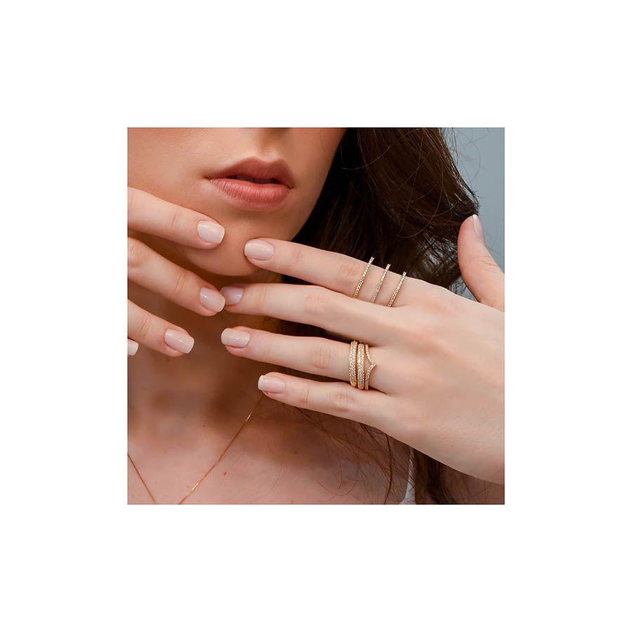 Anel Ouro 18k Triplo com Diamantes  - YVES
