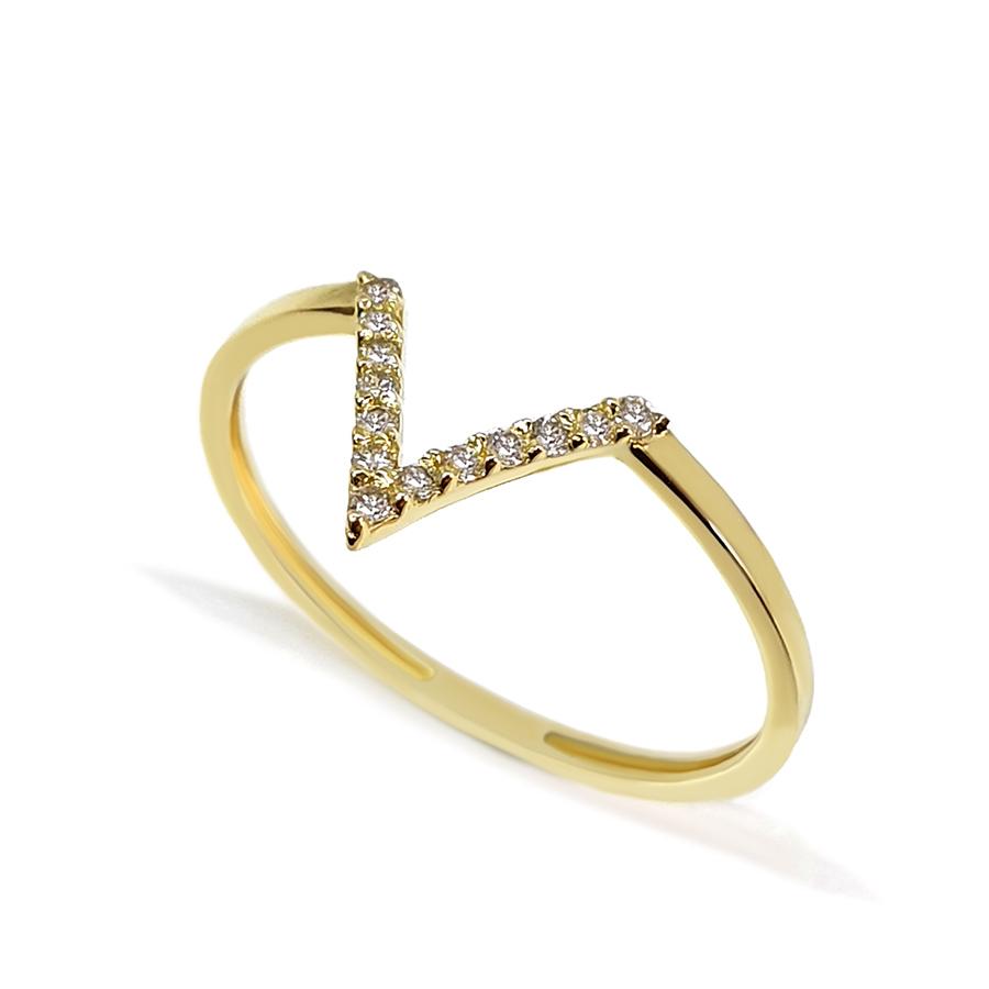 Anel V Ouro 18k com 13 Diamantes