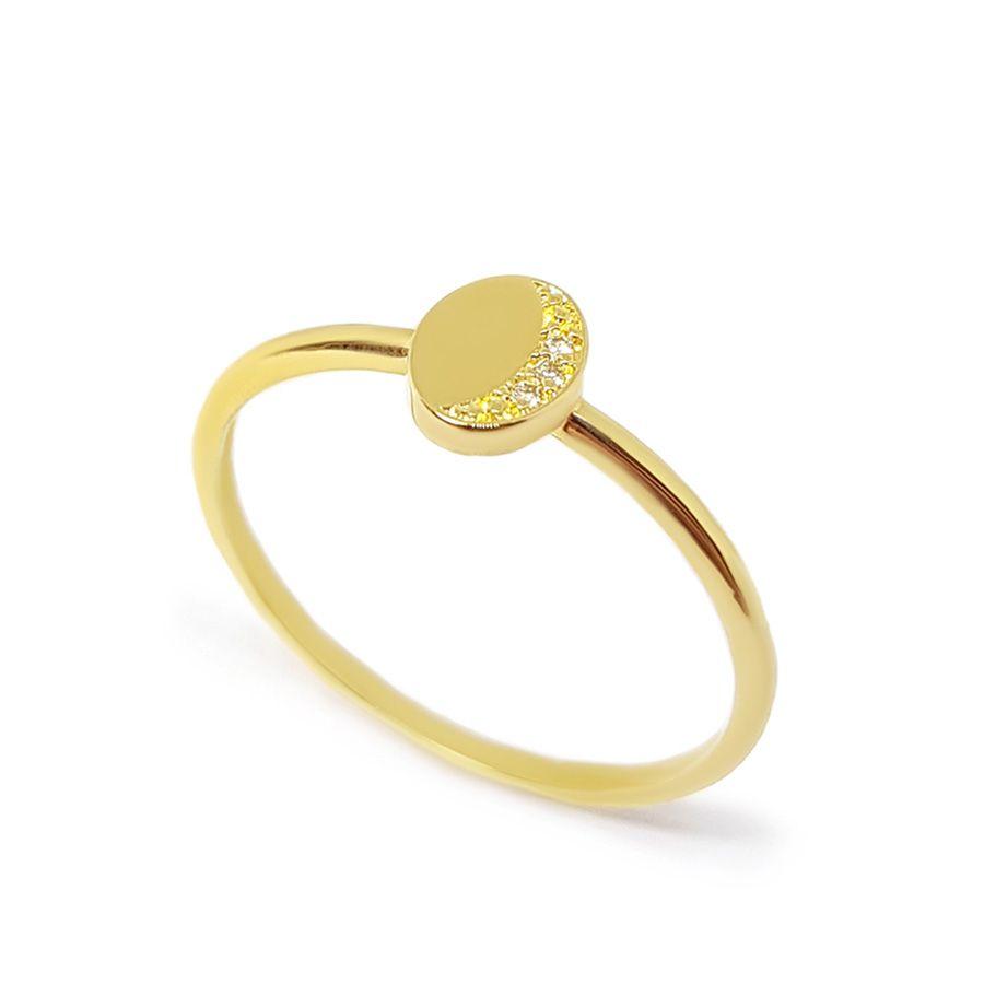 Anel Oval Ouro 18k com Diamantes