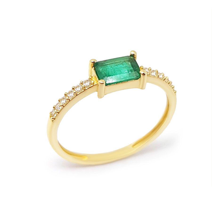 Anel Purity Ouro 18k com Esmeralda Retangular e Diamantes  - YVES