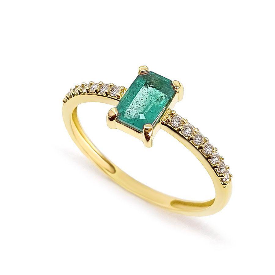 Anel Purity Ouro 18k com Esmeralda Retangular e Diamantes