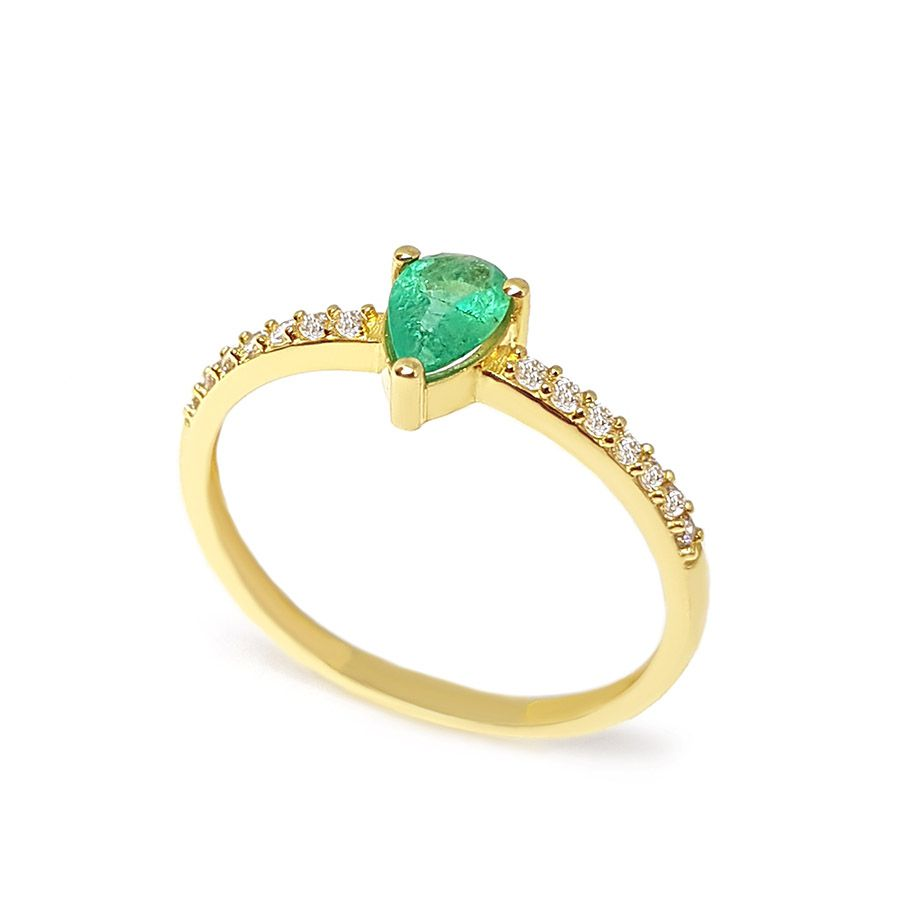 Anel Purity Ouro 18k com Gota de Esmeralda e Diamantes