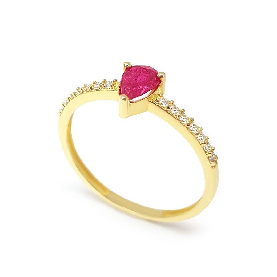 Anel Purity Ouro 18k com Gota de Rubi e Diamantes
