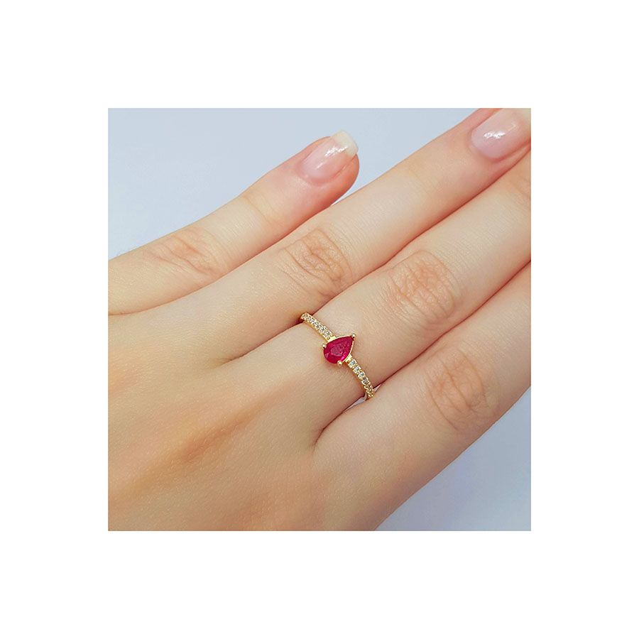 Anel Purity Ouro 18k com Gota de Rubi e Diamantes   - YVES