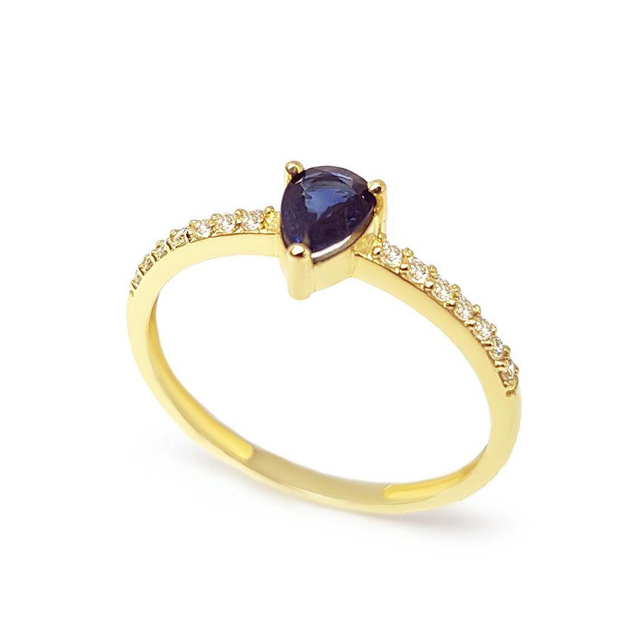 Anel Purity Ouro 18k com Gota de Safira e Diamantes