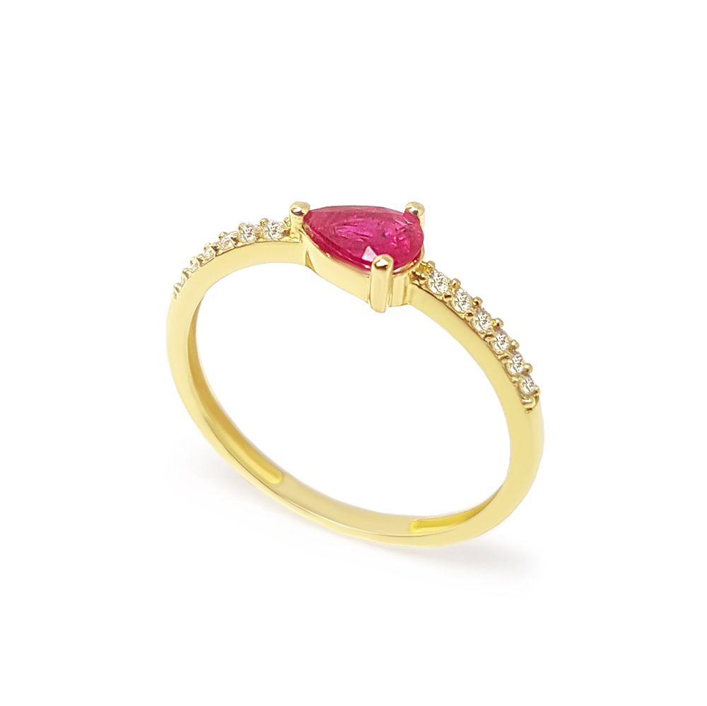 Anel Purity Ouro 18k com Gota Rubi e Diamantes