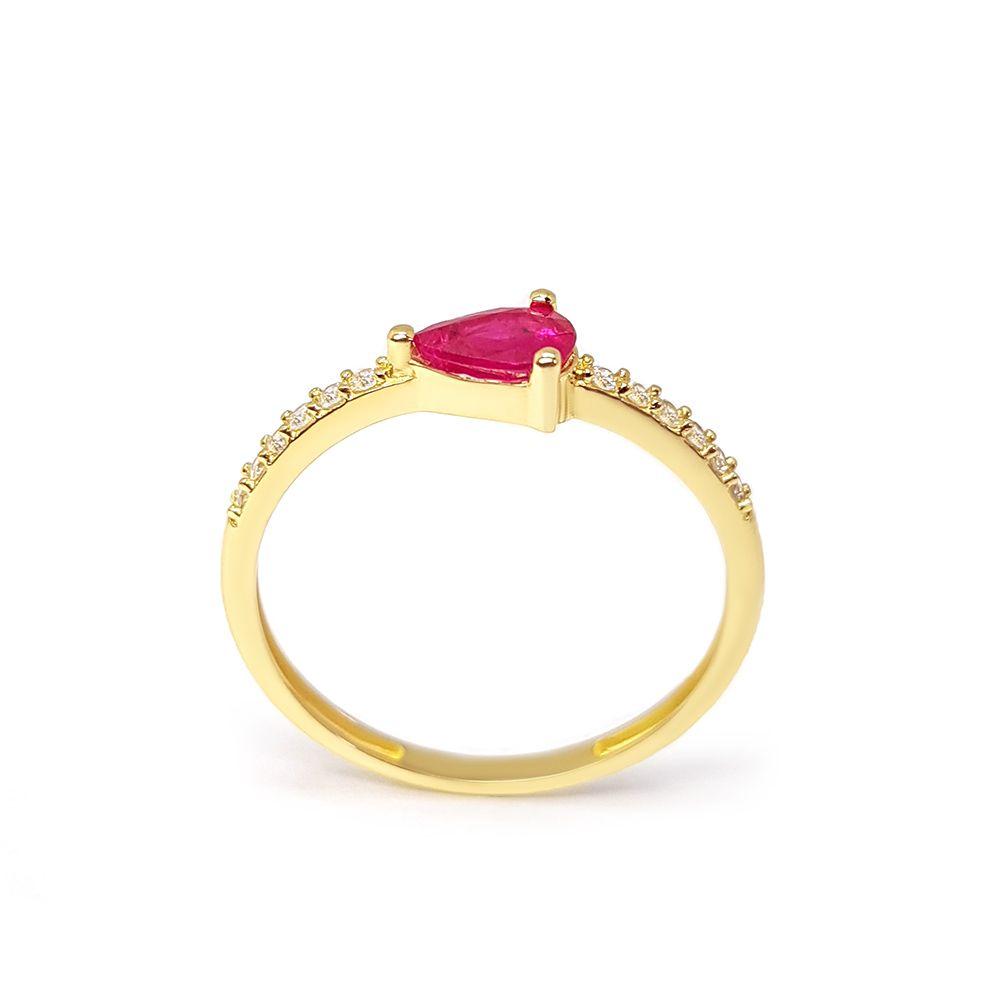 Anel Purity Ouro 18k com Gota Rubi e Diamantes   - YVES