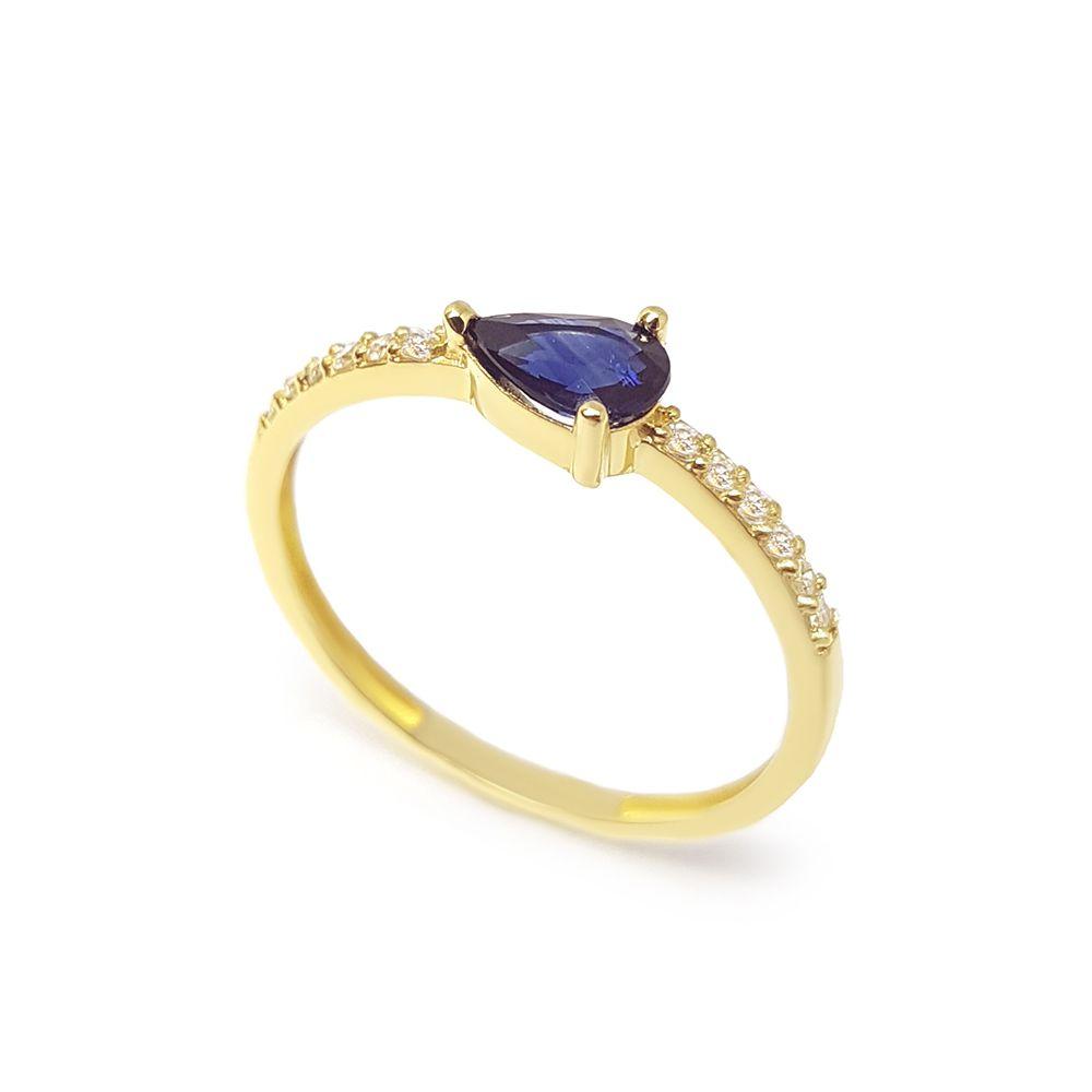 Anel Purity Ouro 18k com Gota Safira e Diamantes