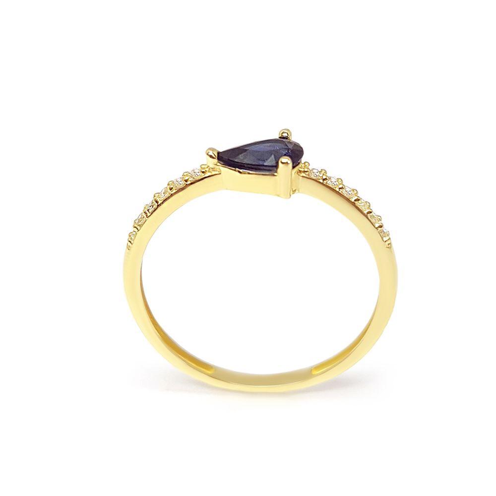 Anel Purity Ouro 18k com Gota Safira e Diamantes   - YVES