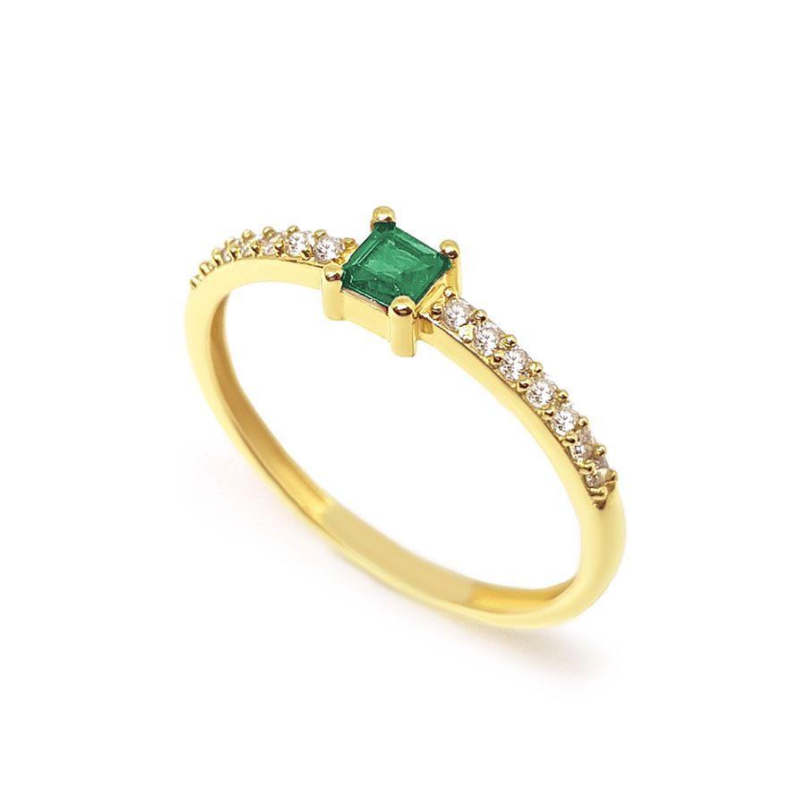 Anel Purity Ouro 18k com Quadrado Esmeralda e Diamantes