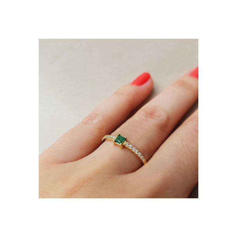 Anel Purity Ouro 18k com Quadrado Esmeralda e Diamantes  - YVES
