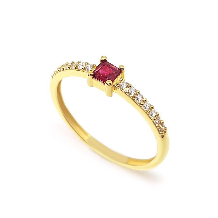 Anel Purity Ouro 18k com Quadrado Rubi e Diamantes